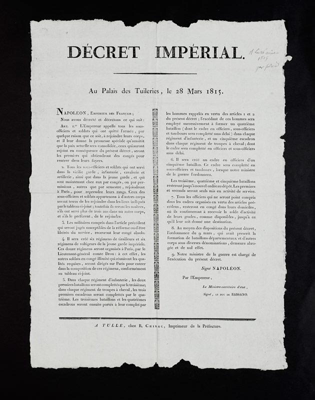 Affiche de placard époque Révolution Empire - Exposition Napoléon Bonaparte - Le Souffle de l'Histoire - Centre Historique du Bourbonnais à Droiturier dans l'Allier