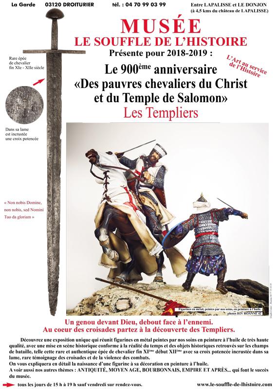 """Exposition Les Templiers le 900ème anniversaire """"Des pauvres Chevaliers du Christ et du Temple de Salomon"""" - Musée des Figurines à Droiturier dans l'Allier"""