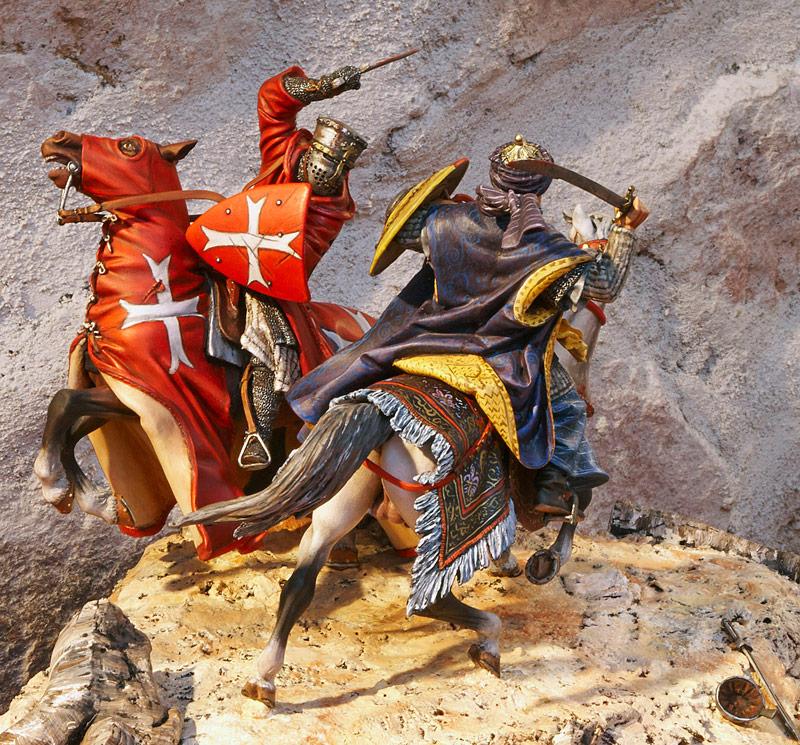 Combat en Terre Sainte - Figurines de Templiers - Le Souffle de l'Histoire musée de la figurine - Centre Historique du Bourbonnais à Droiturier Allier